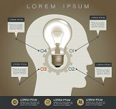 Profile of human head with  lightbulb, gear and text. Concept of business idea. Vector illustration in retro colors
