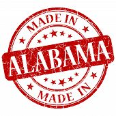 Made In Alabama Red Round Grunge Isolated Stamp