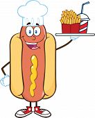 Hot Dog Chef Character Holding A Platter With French Fries And A Soda