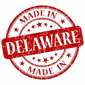 Made In Delaware Red Round Grunge Isolated Stamp