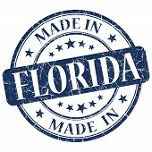 Made In Florida Blue Round Grunge Isolated Stamp