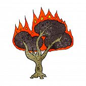 cartoon burning tree