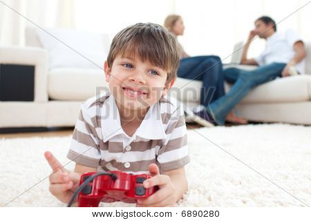poster of Smiling Little Boy Playing Video Games