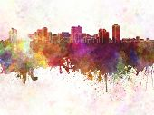 Manila Skyline In Watercolor Background