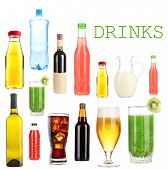 Drinks collage isolated on white