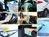Washing car collage