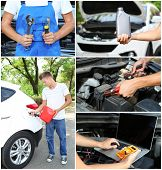 Collage of car mechanic