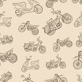 Seamless texture a vintage with mopeds