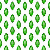Seamless Pattern With Green Gemstones