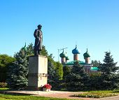 Monument to Vladimir Lenin in Tikhvin, Russia
