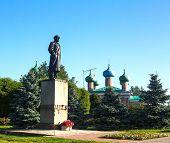 Monument to Vladimir Lenin in Tikhvin, Russia