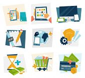 Set of icons. Flat Design. Mobile Phones, Tablet PC, Web and Apps Vector Icons. Marketing and Time Management Services Illustrations. Idea Concept. Responsive Internet Advertising and Pay Templates.