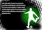 soccer player on the abstract halftone background