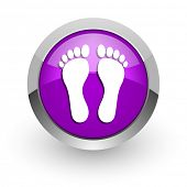 foot pink glossy web icon