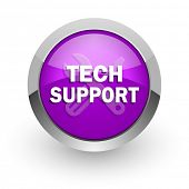 technical support pink glossy web icon