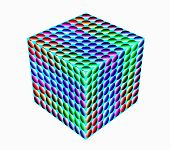 Surround Cube. A Wonderful Harmony Of Colors. 3D.  A-0225.