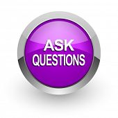 ask questions pink glossy web icon