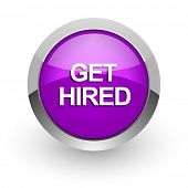 get hired pink glossy web icon