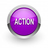 action pink glossy web icon