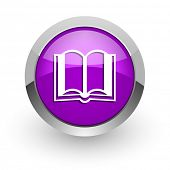 book pink glossy web icon