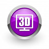 3d display pink glossy web icon