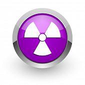 radiation pink glossy web icon