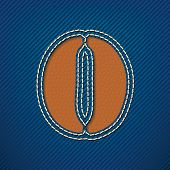 Number 0 made from leather on jeans background - vector illustration