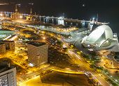 Aerial view of night city. Santa Cruz de Tenerife