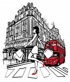 Woman shopping in London -  vector illustration