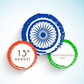 Creative sticky in national tricolors with ashoka wheel for 15th of August, Indian Independence Day