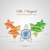 Beautiful stars in national tricolors with Ashoka Wheel on shiny grey background for 15th of August