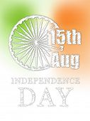 Poster, banner or flyer design with Asoka Wheel and text 15th August, Independence Day on national t