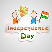 Indian Independence Day celebrations concept with cute little kids holding balloons and flag on grey