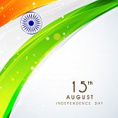 Shiny national flag with asoka wheel on grey background for 15th of August, Independence Day celebra