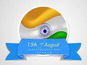 Stylish sticky in national flag colors with blue ribbon on grey background for Indian Independence D