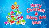 Merry Christmas Happy New Year Ornament Art Paper Blue Background