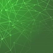 Molecules Connected Green Background