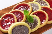 detail of tea cookies with fruit and chocolate filling