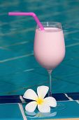 Strawberry And Raspberry Shake At The Swimming Pool