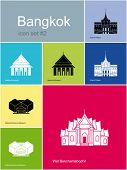 Landmarks of Bangkok. Set of color icons in Metro style. Editable vector illustration.