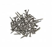 Furniture Fittings - Nails And Screws On White Background