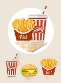 French fries and soda in paper cup flat icons set. Eps10 vector illustration