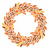 Autumn orange and yellow leaves wreath frame background, vector