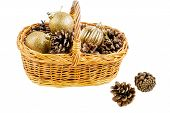 New Year Basket With Pine Cones And Christmas Balls