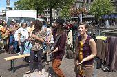 Netherlands - Leiden - Circa June 2014: Street Musicians In The Center Of Leiden.