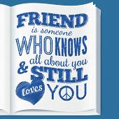 Typography design on book page with quote about friendship