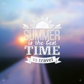 Summer time typography design on blurred sky background
