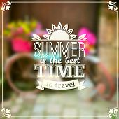 Summer time vector typography design on blurred background
