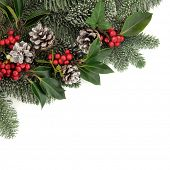 Christmas background floral border with snow, holly, ivy, mistletoe, fir and pine cones decorations