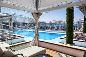 MEDITERRANEAN - July 9:  Pool deck of luxury Princess Cruises ship